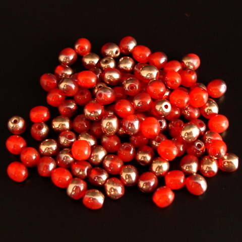100 runde Glasperlen · Orange-Rot Kupfer 4mm · pe4682