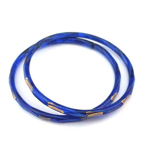 Großer antiker Glasring/Bangle Blau Gold · Gablonz - b004