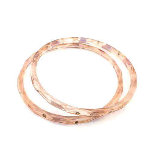 Großer antiker Glasring/Bangle Rosa Gold · Gablonz - b007