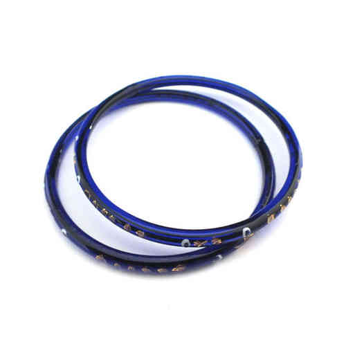 Großer antiker Glasring/Bangle Blau Gold · Gablonz - b013