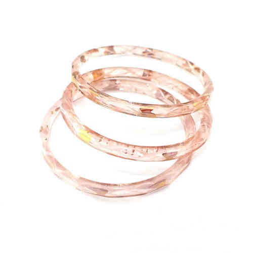 Großer antiker Glasring/Bangle Rosa Gold · Gablonz - b024