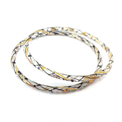 Großer antiker Glasring/Bangle Crystal Gold · Gablonz - b023