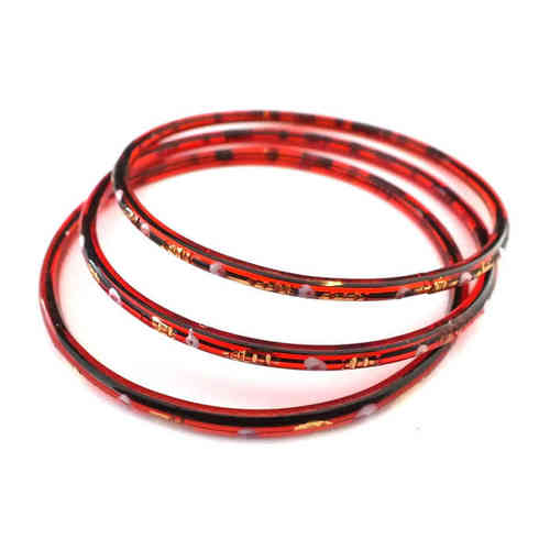 Großer antiker Glasring/Bangle Rot Gold · Gablonz - b034