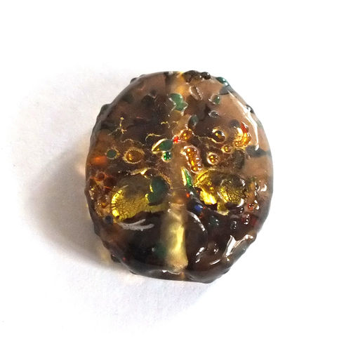 1 Lampwork Perle · Rauchtopas Gold oval 21x18mm · lp058