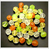 50 Glasperlen Nuggets Mix Grün Orange Crystal Gelb 6mm - pe3146