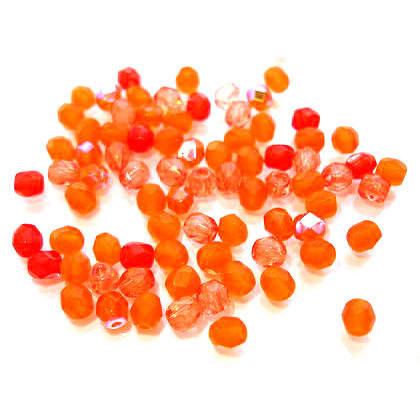 100 geschliffene Glasperlen · Mix Orange 4mm · pe1741