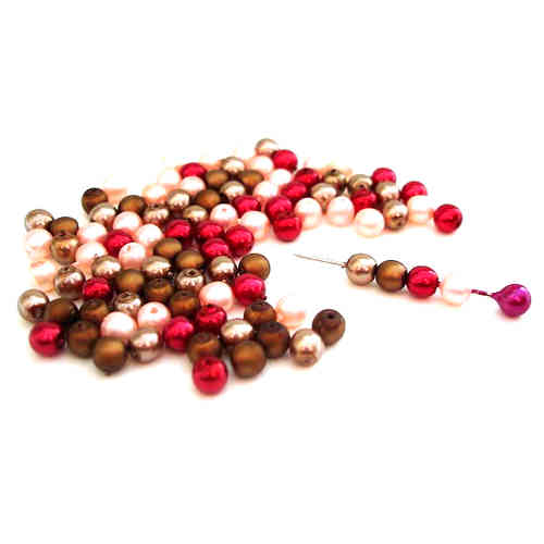 100 runde Wachsperlen | Mix Bronze Bordeaux Rosa 4mm - pe2463