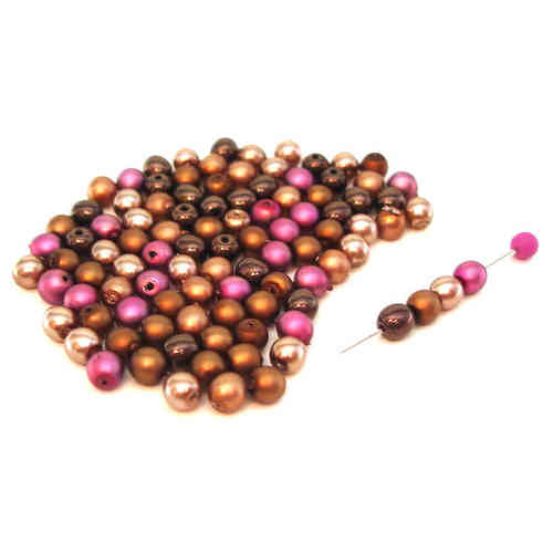 100 runde Wachsperlen Mix Bronze Gold Pink 4mm - pe2765