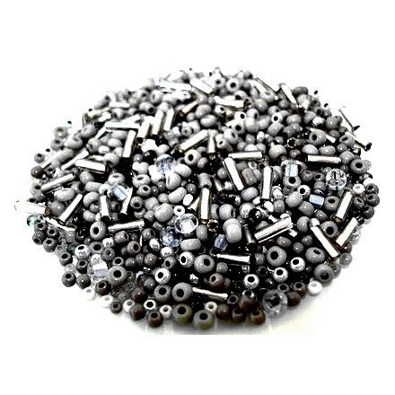 1000+ St. Rocailles Stiftperlen Mix Black Diamond Grau · 446