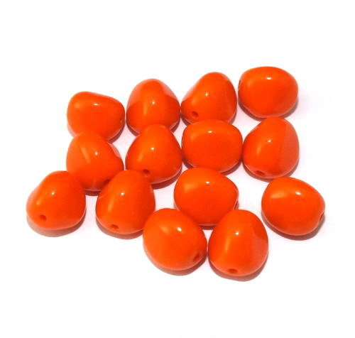 14 Glasperlen Nuggets Orange opak 9mm - pe4882