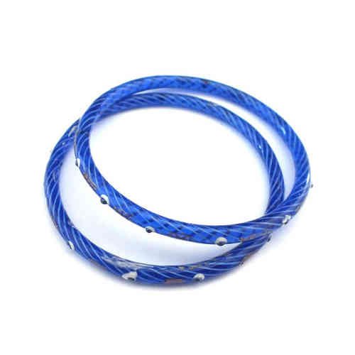 Großer antiker Glasring/Bangle Blau Gold · Gablonz - b011