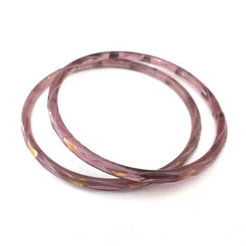 Großer antiker Glasring/Bangle Lila Flieder Gold · Gablonz - b018