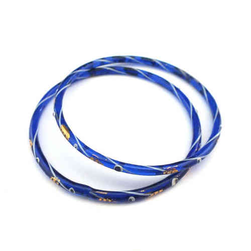 Großer antiker Glasring/Bangle Blau Gold · Gablonz - b016