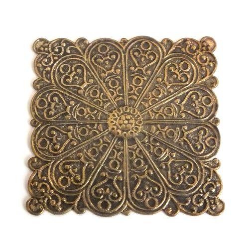 1 Messingteil · Quadrat · Ornament 33x33mm - mt606